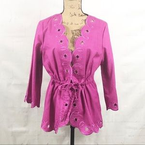 Bob Mackie Wearable Art Pink embroidered jacket